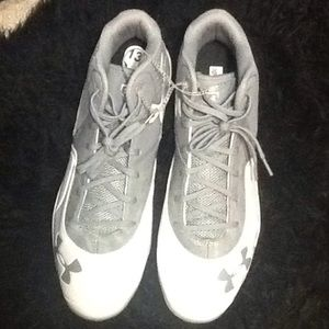 Men's Gray White Baseball Cleats